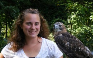 Lisa Duke with Redtail Hawk
