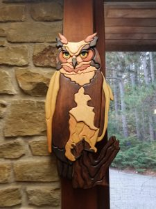 Wooden Great Horned Owl art by Chuck Staunton
