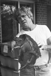 Dr. J. Whitfield Gibbons with a snapping turtle (1985).