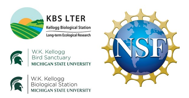 Array of logos, including the W.K. Kellogg Biological Station, Kellogg Bird Sanctuary, KBS Long-term Ecological Research program, and the National Science Foundation.